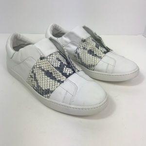 Vince leather sneakers snakeskin grey slip on